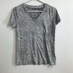 Mossimo Black and White Patterned V-Neck Tee